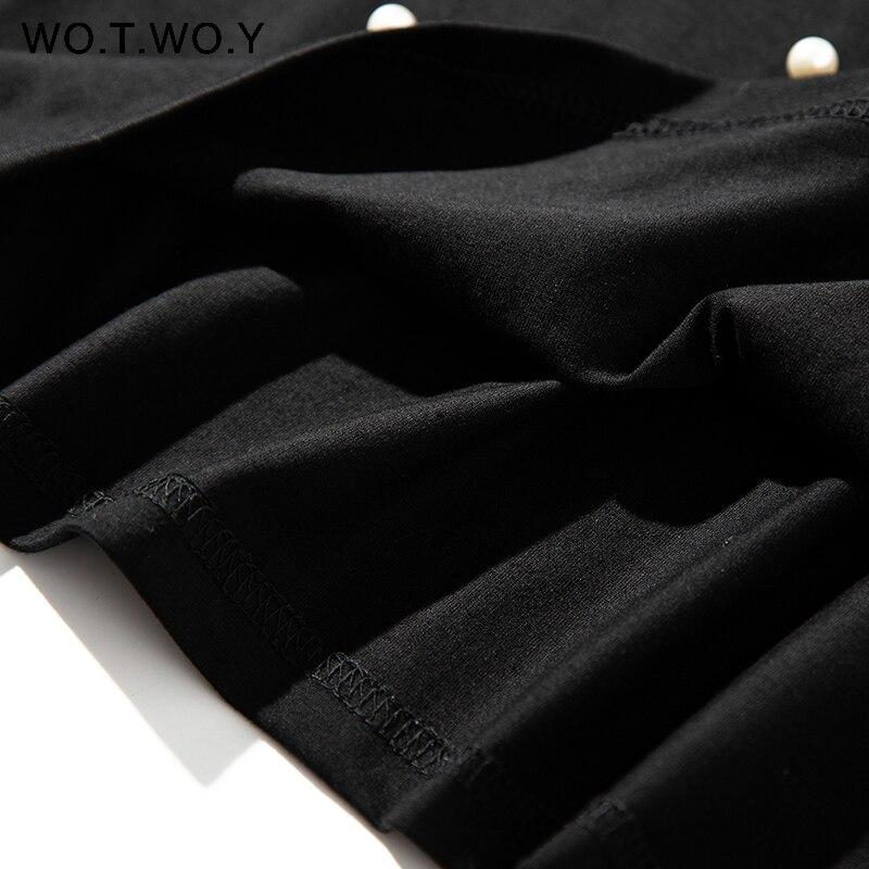 2019 Summer New Pearls Beaded T-Shirt Women Cotton Loose Casual Tops Women Short Sleeve O-Neck T Shirt Black High Quality