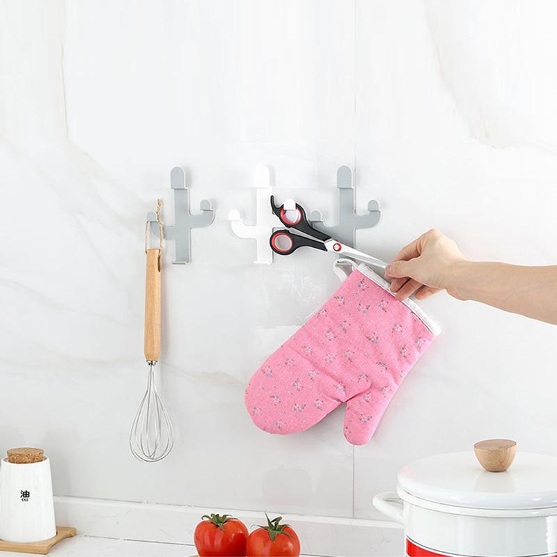 Coat Hanger Hooks Holder Decor-Rack Self-Adhesive Cactus-Shaped Kitchen-Wall 1pcs Room-Cap title=