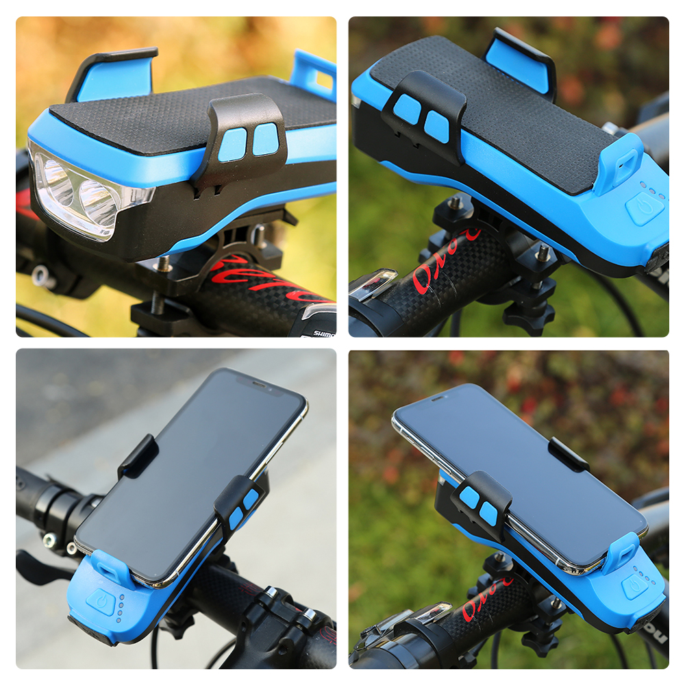 Apparel - 4 In 1 Bike Light Phone Holder Handlebar Stand with Power Bank Bicycle Lamp Bicycle Set USB Rechargeable Rear Light