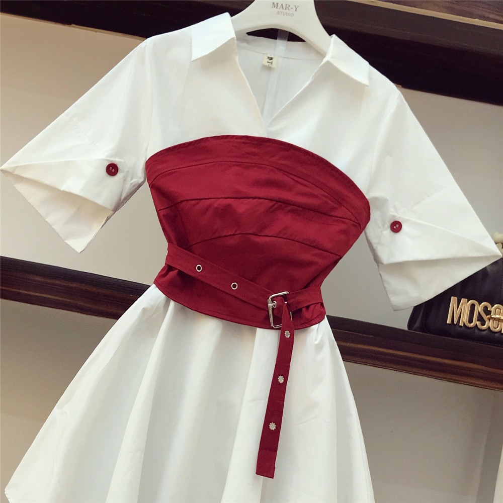 2020 Summer Fashion Design Women V Neck Irregular White Shirt Dress + Red Corset Belt Asymmetry Sexy Girdle Women 2 Piece Set