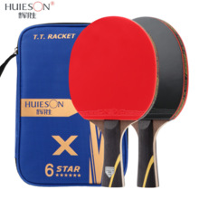 Racket-Set Paddle Carbon-Table-Tennis Ping-Pong Huieson 6-Star Professionalpowerful