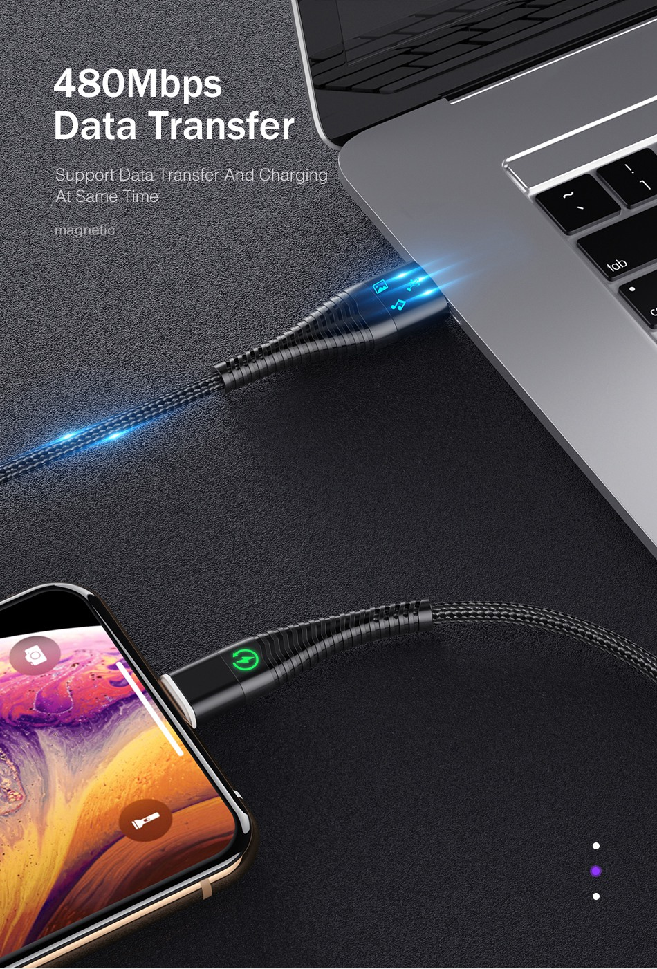 ROCK LED Light Magnetic Charge Cable Micro USB Cable For iPhone XR XS Max X Magnet Charger USB Type C Charging Wire Cord 1M 2M 15