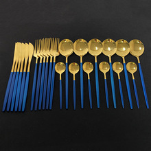 Dinnerware-Set Knife Fork-Spoon Cutlery Stainless-Steel Kitchen Gold Blue 24pcs Western