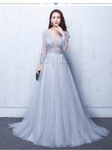 Party-Gown Evening-Dress Flowers Lace-Up Backless Elegant Yiiya Illusion New Three Quarter