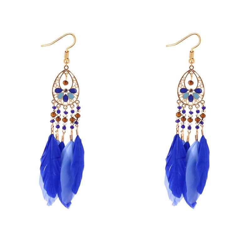 Boucles d'Oreilles Attrape Rêves en Or Bleu bijoux femme tenue unique style chic et bohème turquoise belle or massif style indien amérindienne capteurs de rêves