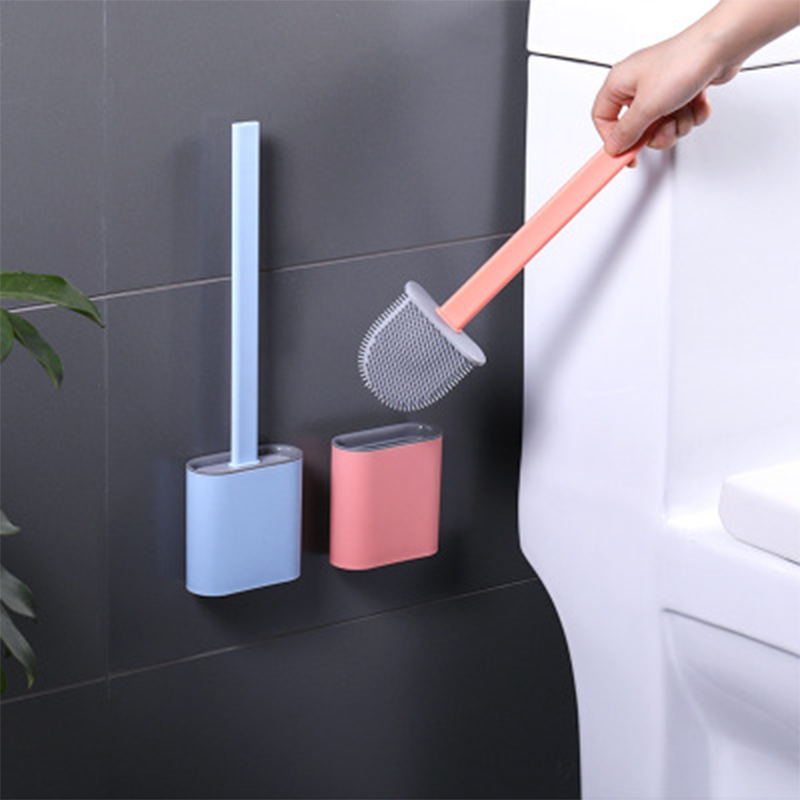 A Set TYSJZBFL 2 Uds 2020 Nuevo Cepillo De Silicona para Inodoro De Cabeza Plana Flexible Suave con Soporte Creativo WC Juego De Soporte De Secado R/ápido para Ba/ño