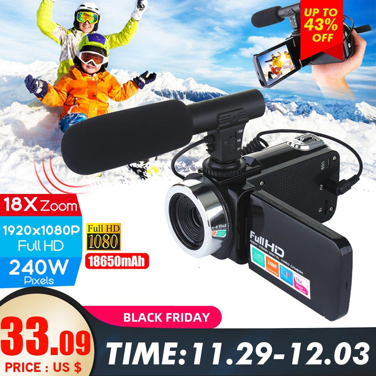 Video Cámara Videocámara 1080P 24MP 3''LCD pantalla táctil IR Visión Nocturna Micrófono