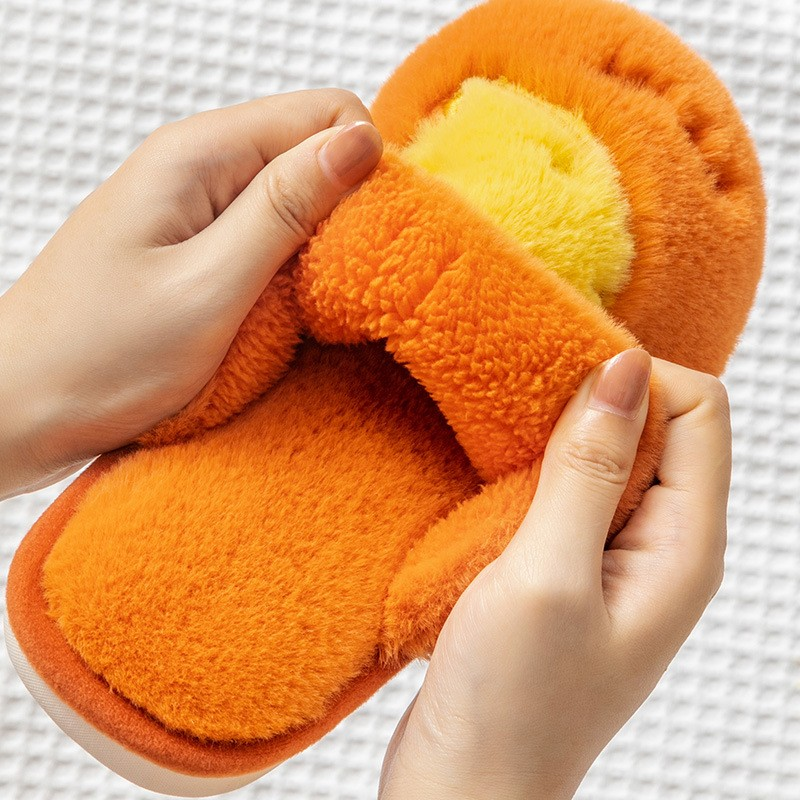 Women Fluffy Slippers Winter Warm Fur Shoes Men Lovers Cute Fruits Carrot Butterfly Soft Sole Home Ladies Plush Zapatillas Mujer