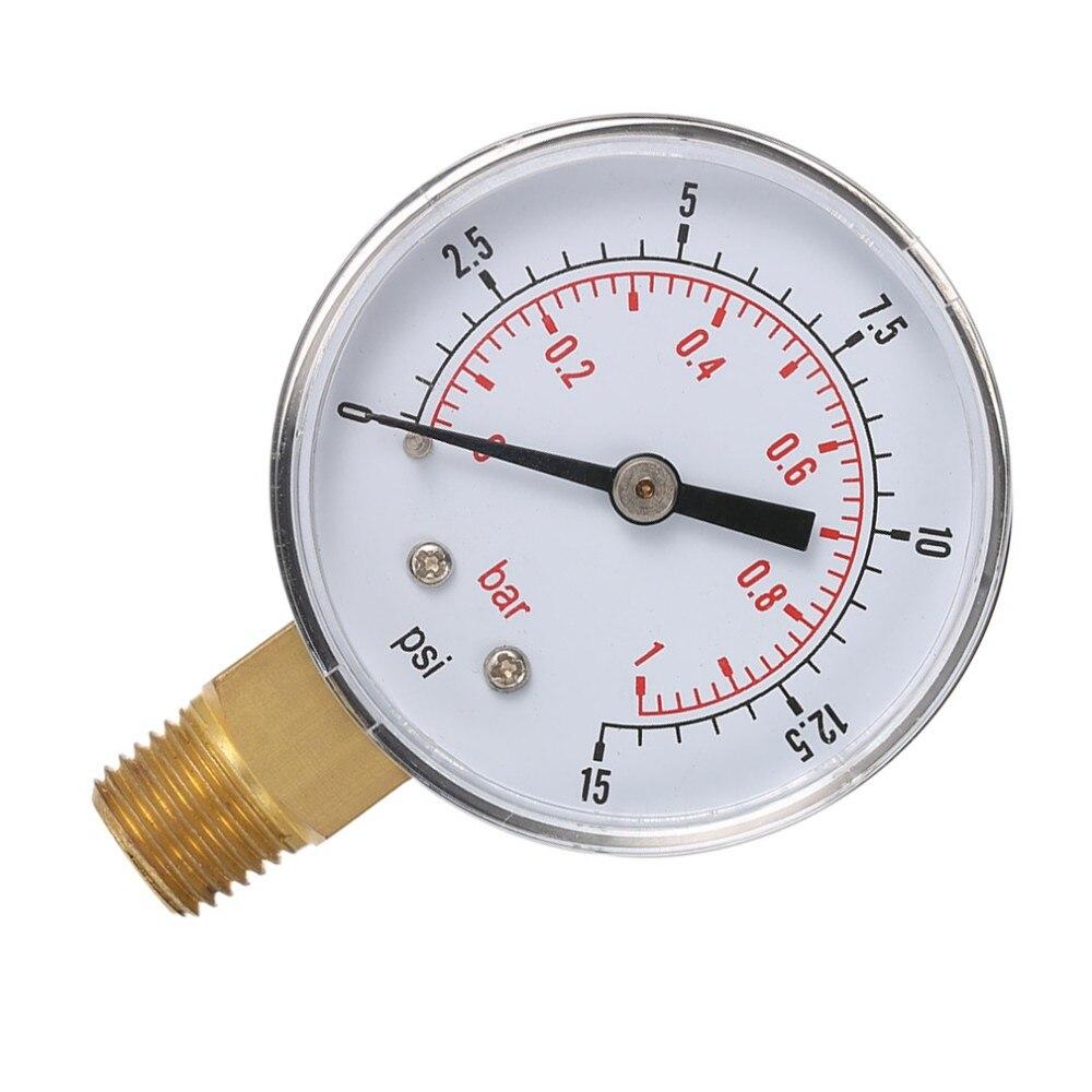 Aceite o Agua 50 mm 0-15 PSI 0-1 Bar 1+4 Pulgadas BSPT TS-50 Medidor de Doble Escala Plateado y Negro Mini man/ómetro de Baja presi/ón para Combustible Aire