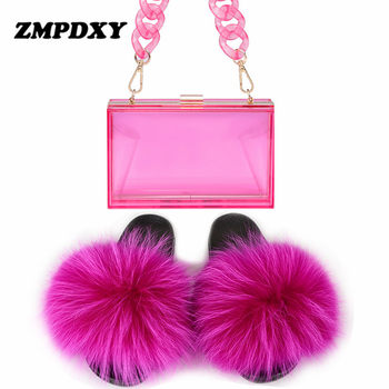 Women Real Fox Fur Slippers Transparent Acrylic Jelly Purse Chain Crossbody Handbag Jell Bags Cute Plush Furry Fur Sandals