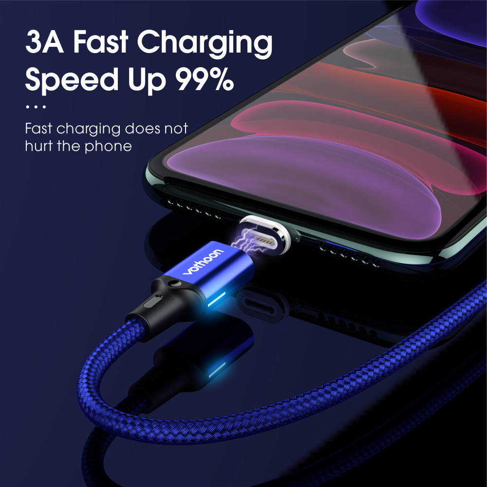 Vothoon 3A Magnetic USB Cable Fast Charging Micro USB Type C Cable For Samsung iphone 11 Pro Magnet Charger Mobile Phone Cable