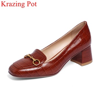 Krazing Pot big size genuine leather high heels metal decoration spring shoes slip on office lady brand elegant women pumps L59