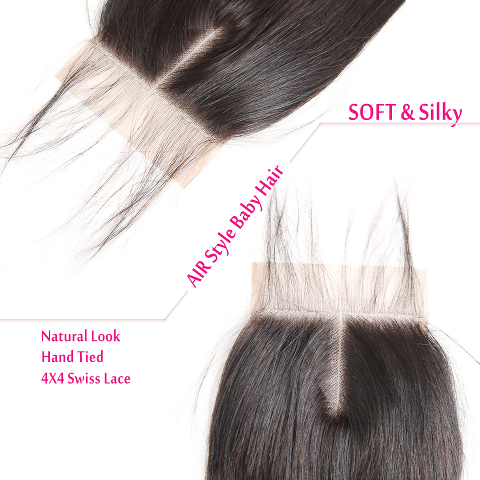 Fashow Hair Indian Hair Lace Closure 4x4 Swiss Lace With Baby Hair Pre Plucked Natural Hair Line Human Hair Remy Hair Closure