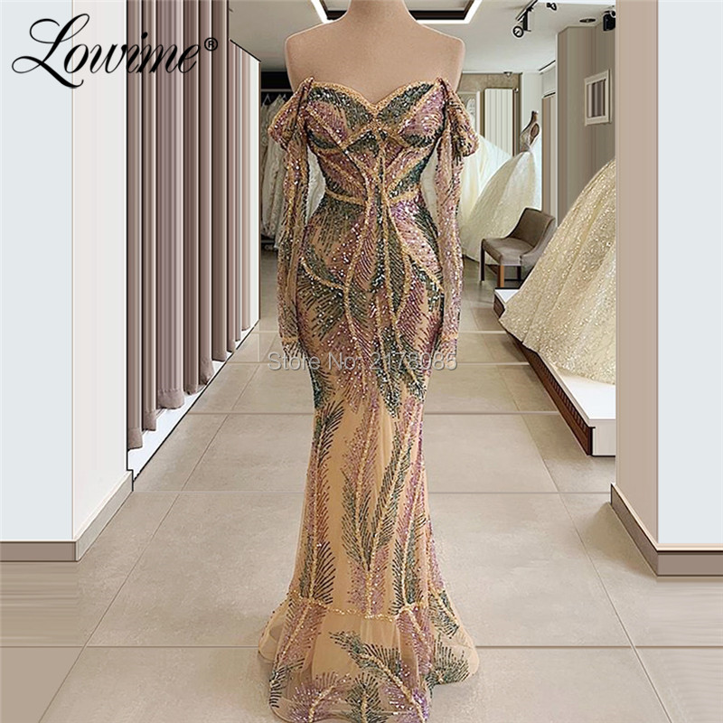 Off The Shoulder Saudi Arabic Evening Gown 2020 Vestido De Festa Dubai Glitter Formal Party Dress Celebrity Pageant Prom Gowns