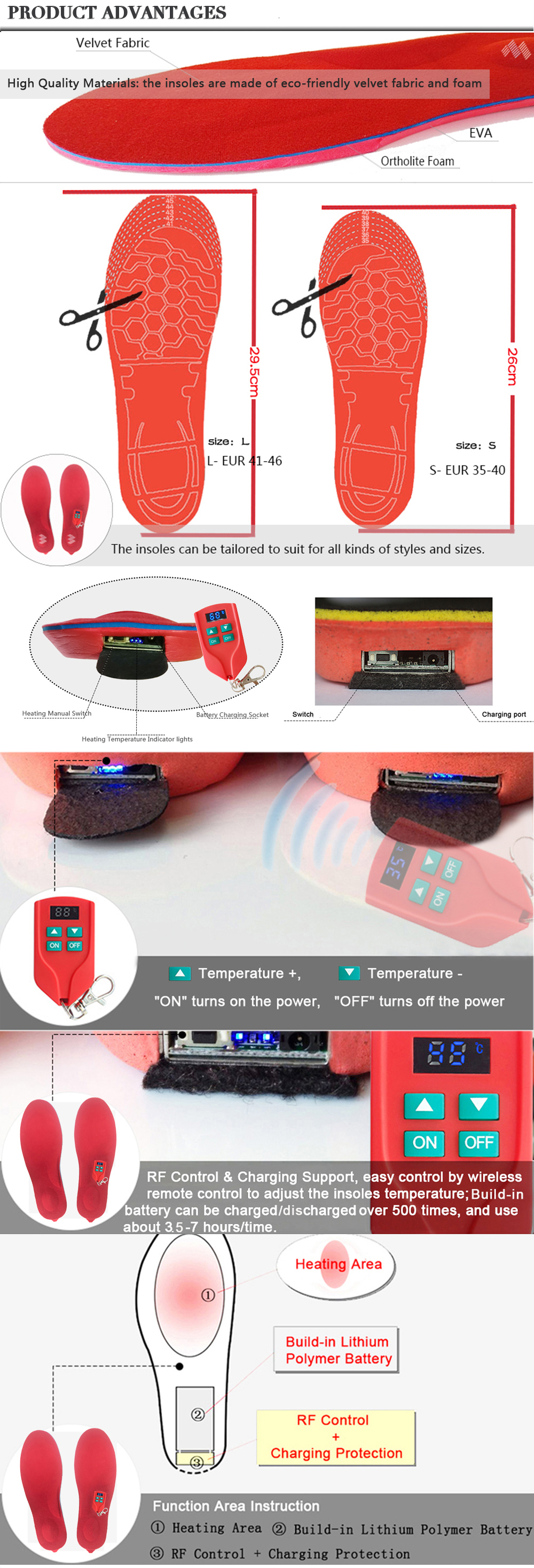 New 2000mAh Heated Insoles Winter Foot Warmer USB Rechargeable Heating Insoles Men Women Shoe Pads for Hunting Skiing Hiking
