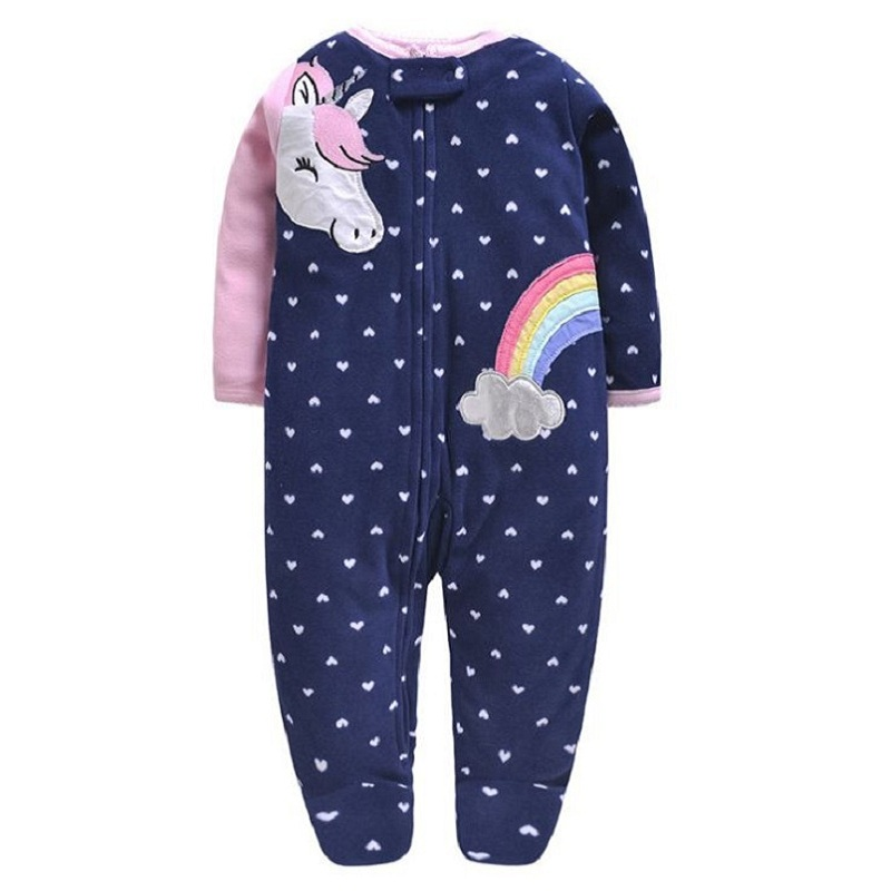 cartoon unicorn baby girl jumpsuit footies clothes winter newborn boy long sleeve 0-12 month new born o-neck zipper 2019