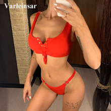 Female Swimsuit Bikini-Set Two-Pieces Women Swim-V878 8-Colors Padded Knotted