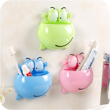 Suction-Hooks-Shelf Toothbrush-Holder Bathroom-Accessories Wall Sucker Cute Frogs