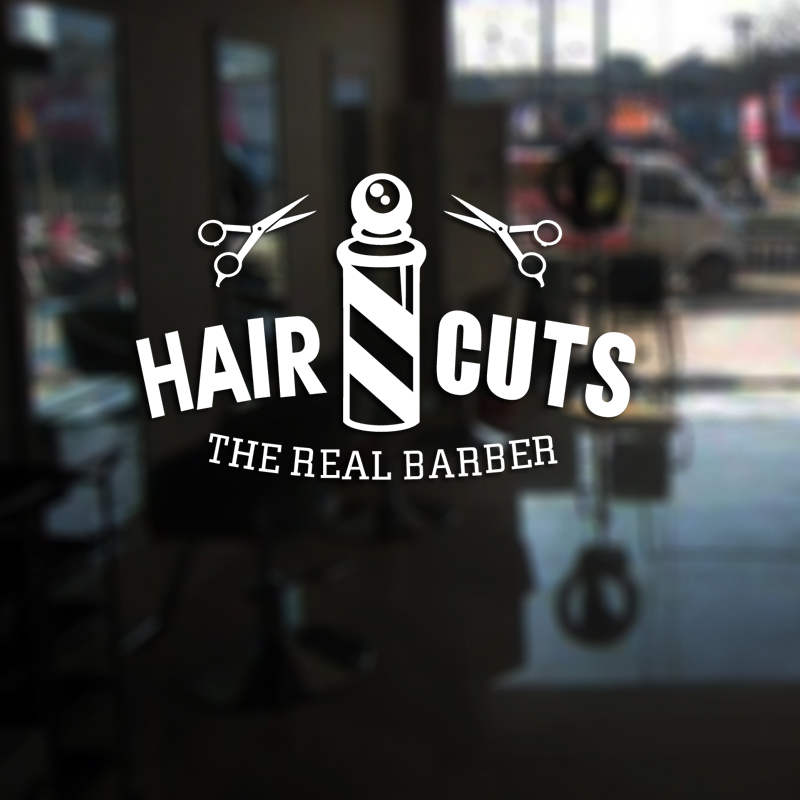 Hair Cuts Man Barber Shop Sticker Name Chop Bread Decal Haircut Posters Vinyl Wall Art Decals Decor Windows Decoration Mural