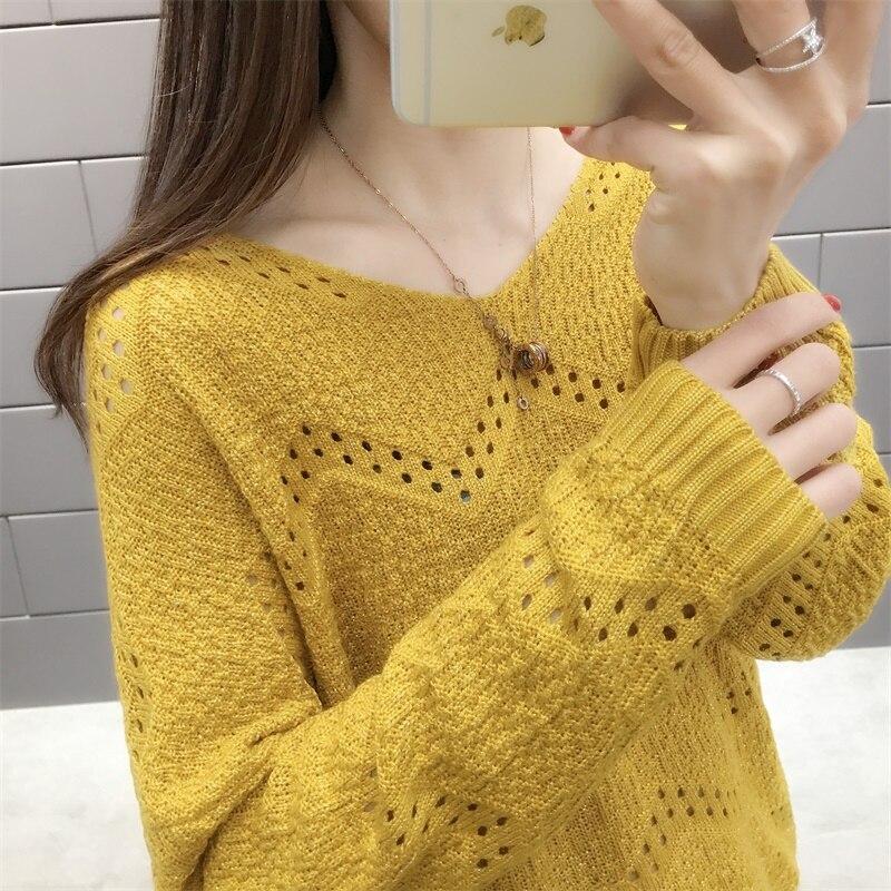 Feminino Pullover Top V-collar Sweater Female Spri...
