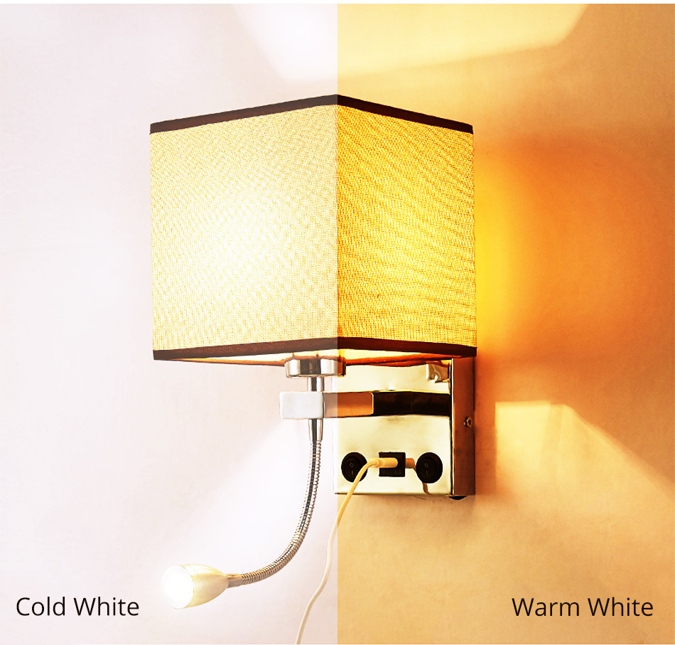 Modern Indoor LED Wall Lamp Bedside Bedroom Applique Sconce With Switch USB E27 Bulb Interior Headboard Home Hotel Wall Lights (4)