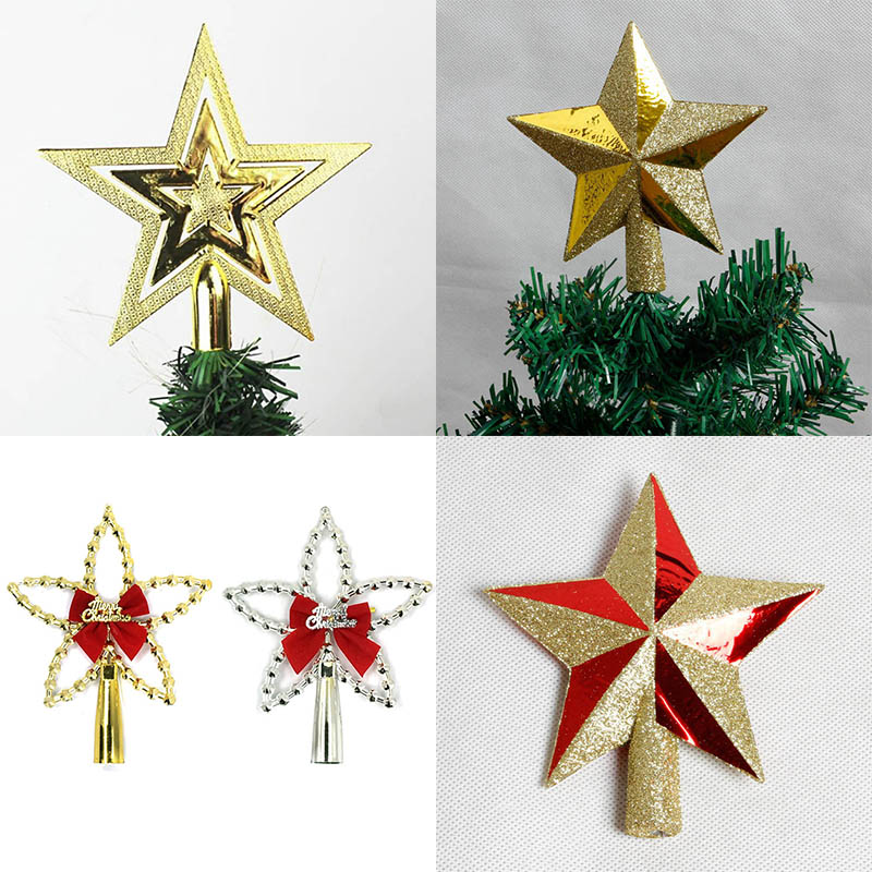 1pc Gold Silver Christmas Tree Top Star for Home House Xmas Tree Decoration Toppers Accessories Christmas Ornament Supplies 8z