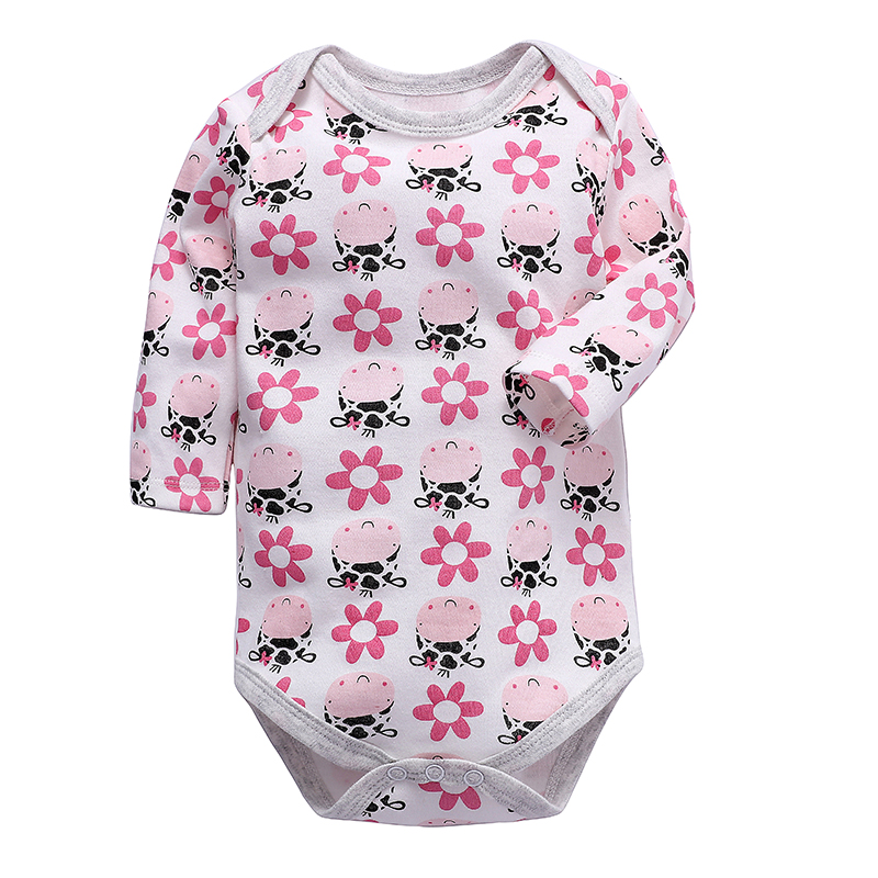 Circle Flower Flamingo Newborn Infant Toddler Baby Girls Boys Bodysuit Short Sleeve 0-24 MonthsBlack
