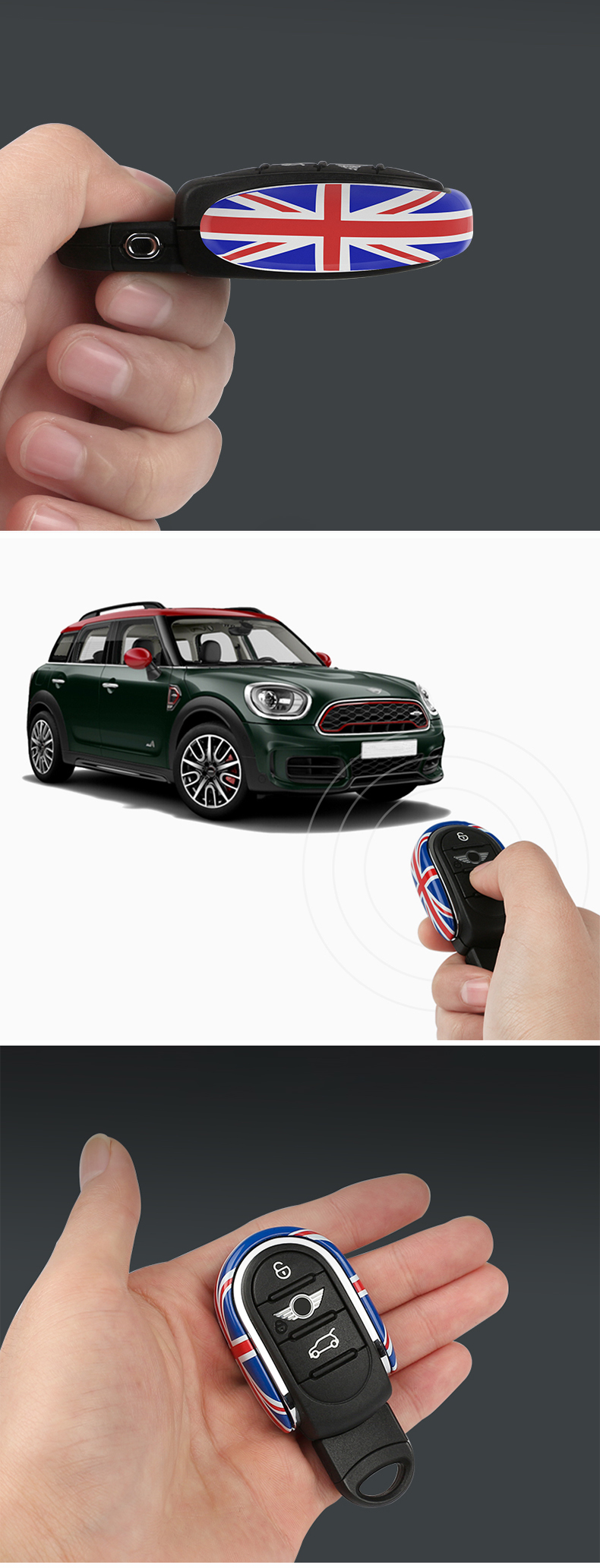YLC Silicone Car Key Cover Protection Case for BMW Mini Cooper ONE S JCW F54 F55 F56 F57 F60 Clubman Countryman 3 Button Smart Key Navy Blue