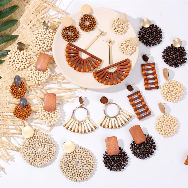 19 Fashion Boho Round Square Geometric Wooden Drop Earrings For Women Bohemian Vintage Wood Beaded Dangle Earring Jewelry Gift 1