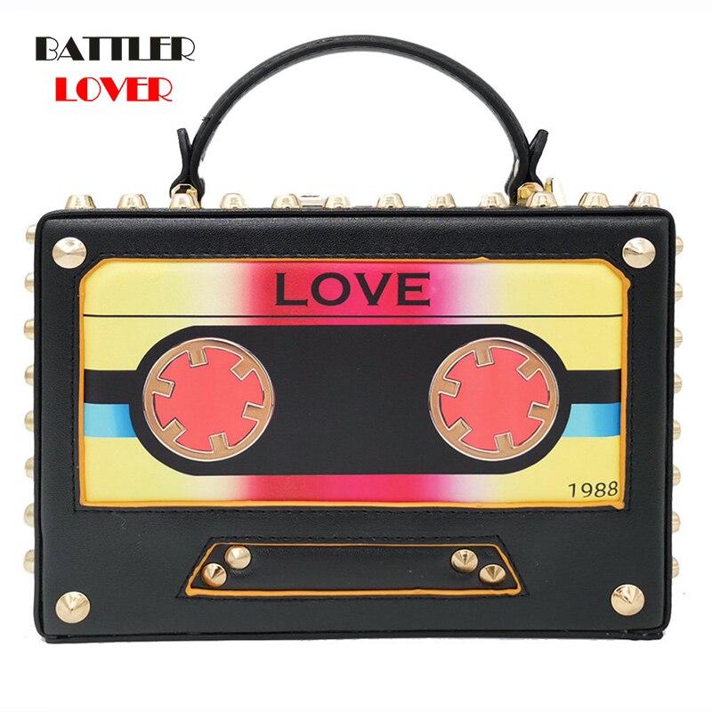 Bag for Women 2019 Vintage Radio Tape LOVE Women Shoulder Bags Top-Handle Totes Bag Ladies Fashion Crossbody Handbags and Purses