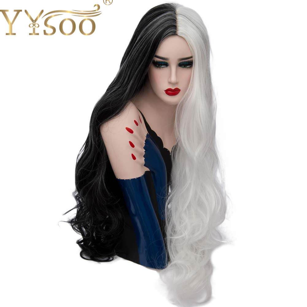 YYsoo Women Cosplay Long Wavy Wig Synthetic 2Tone Half Black Half White Hair Heat Resistant Wave Costume Wigs for Women Part Use