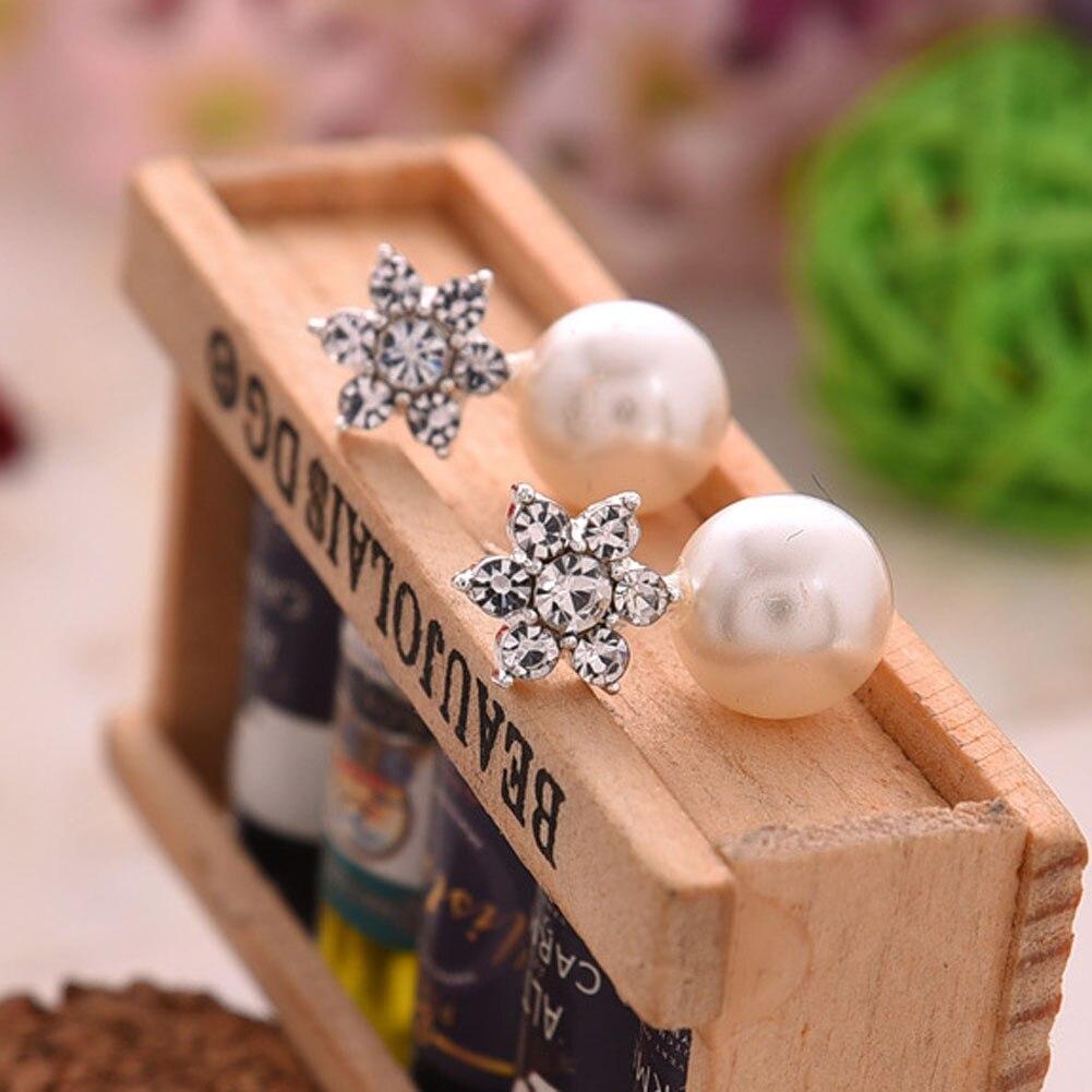 Pearl Crystal Rhinstone Women Earring Snow Flower Stud Earrings Earrings for women Brincos Earring Lovely Jewelry
