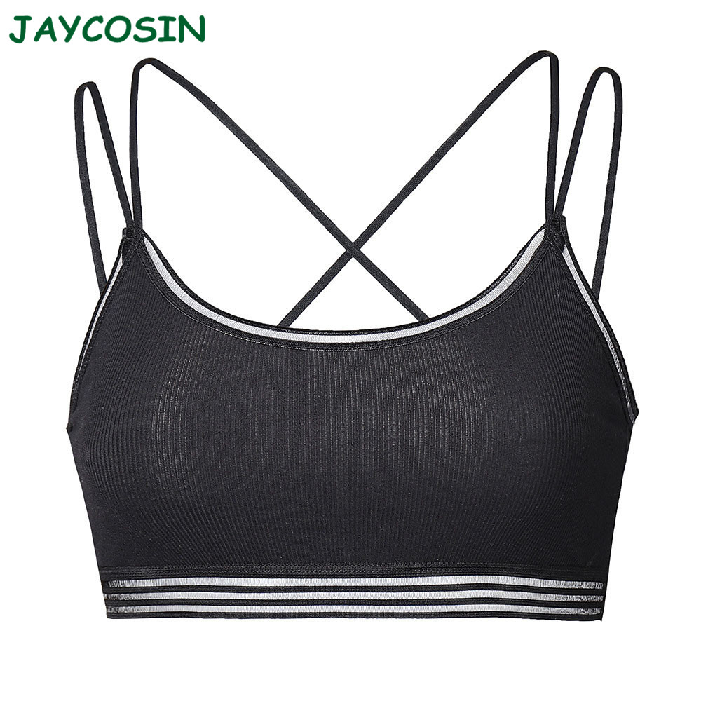 JAYCOSIN Clothes Women Sexy Solid Chest Pad Bra Set Seamless Cross Bandage Breathable Full Coverage Sport Underwear Bra 1210