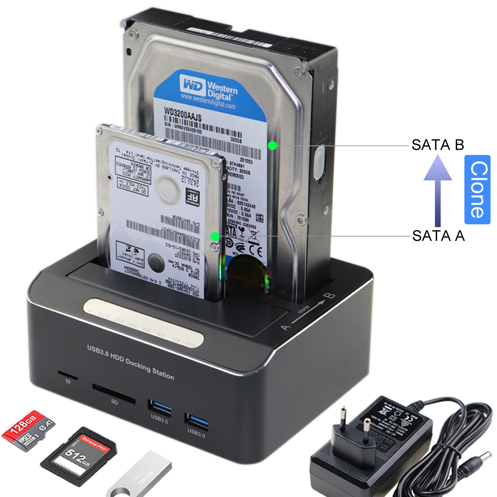 Hard-Drive Docking-Station Clone SATA Tf/sd-Card-Reader HDD Usb-3.0 To 2-Bay for SSD title=