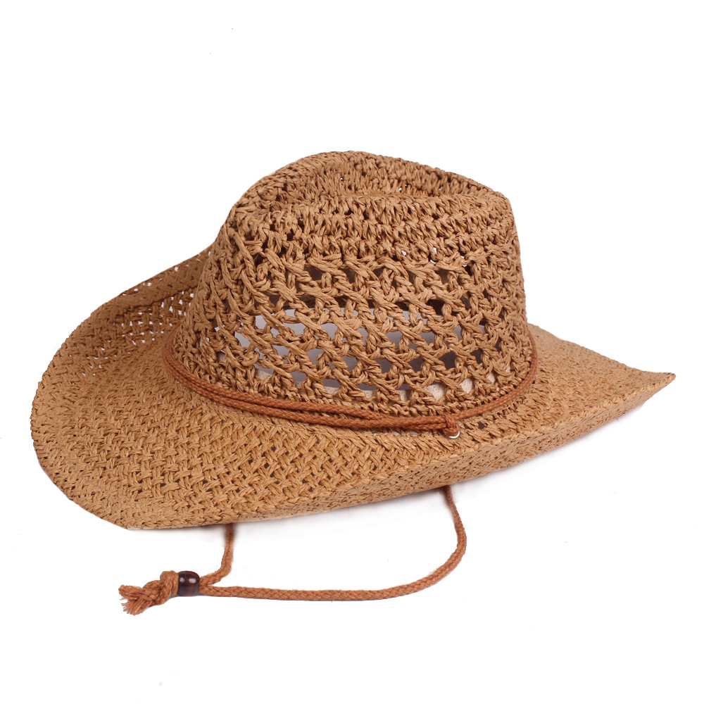 Unisex Mesh Straw Hat Wide Brim Summer Beach Travel Sun Cap Soft and Breathable Vintage and Fashionable Western Cowboy Straw Hat