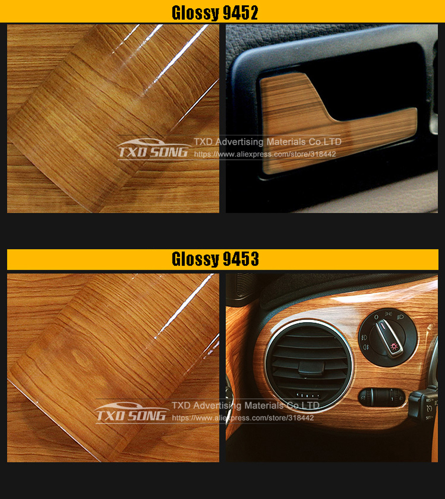 WENJING Car Dashboard Panel High Glossy Wood Grain Vinyl Trim Film Sticker Decor Protector DIY Film Car Interior Moulding Stylish Color Name : 30x100cm