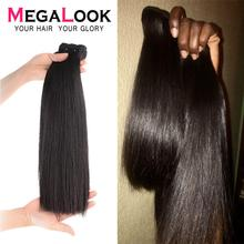 Megalook Hair-Bundles Closure Virgin-Hair Straight Double-Drawn Super with 3-4