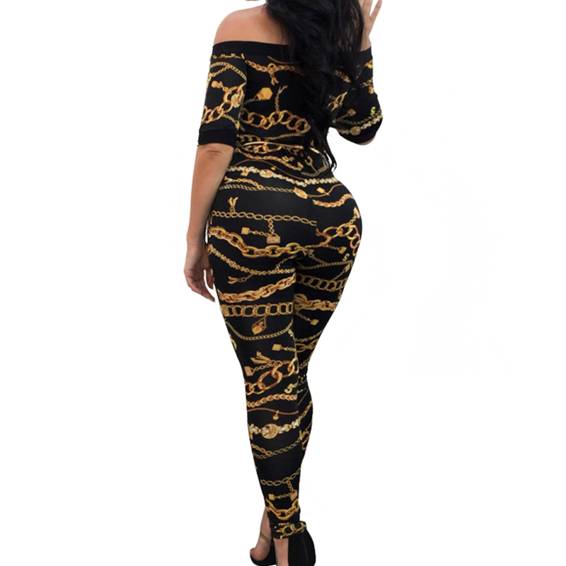 Chain Print Off Shoulder Jumpsuits Long Pants For Women Fitness Short Sleeve  Playsuit Sexy Club Rompers Overalls