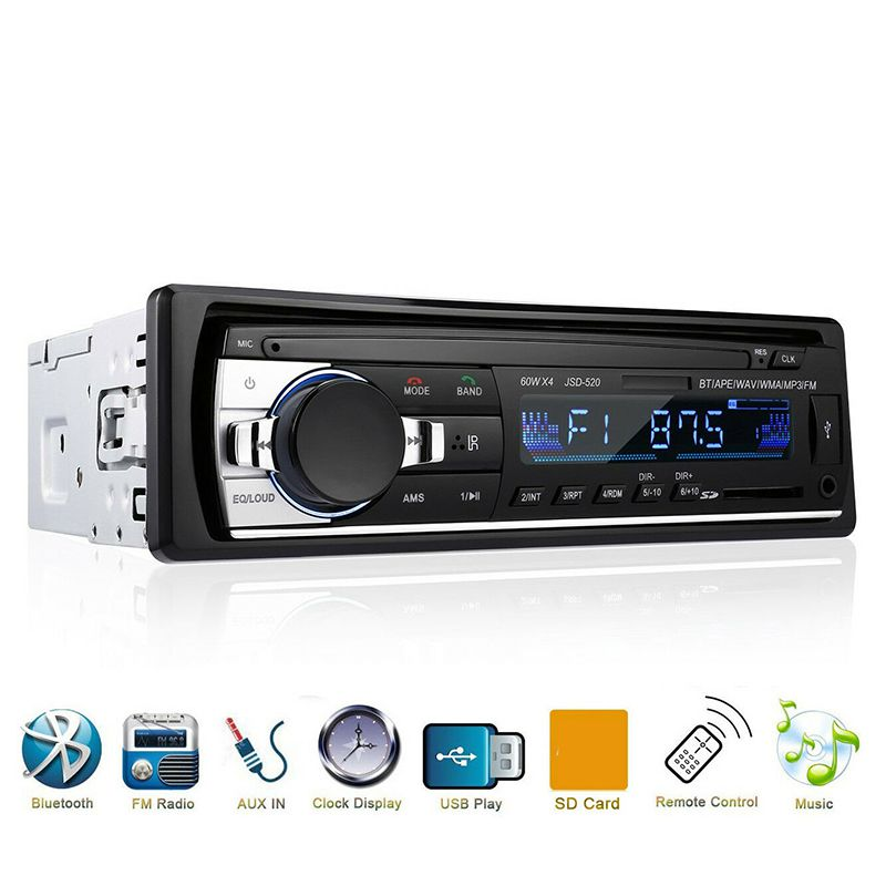 Music-Player Autoradio MP3 Remote-Control Car-Stereo Bluetooth Aux-Input 1-Din USB 12V title=