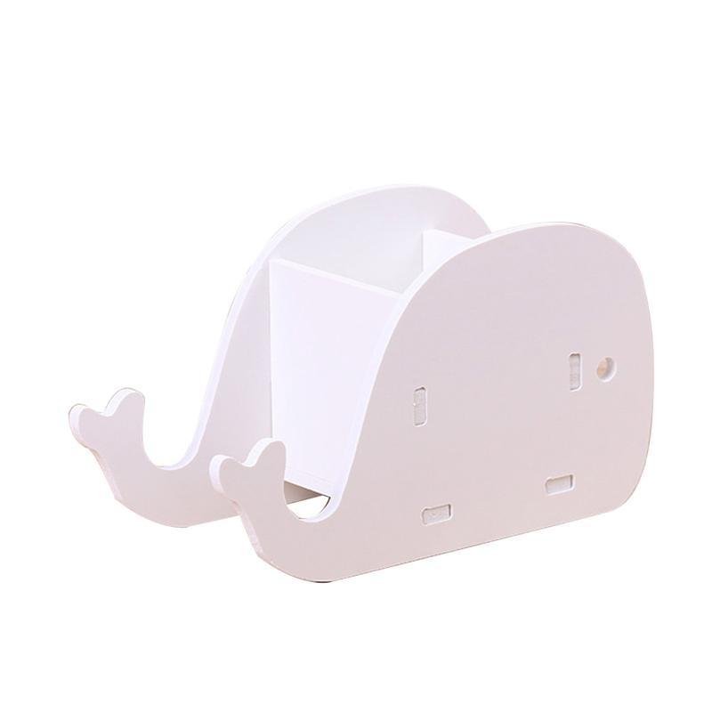 Cute Elephant Whale Pencil Holder Cell Phone Stand Desk Bracket Storage Box