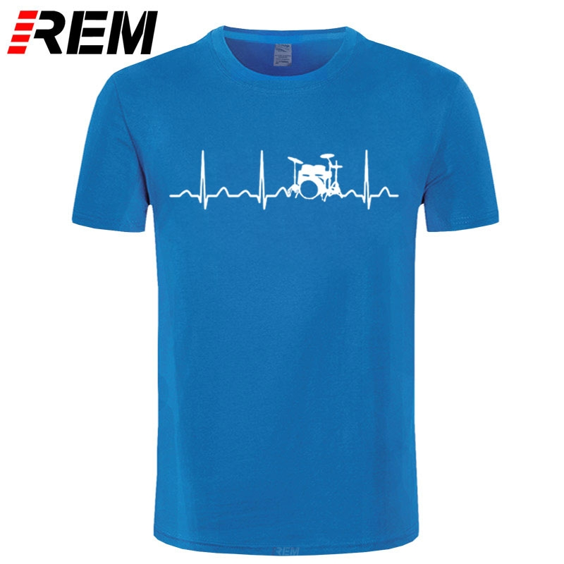 REM Custom Printed T Shirts Men'S Short Sleeve Top O-Neck Drums Drummer Heartbeat T Shirt