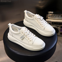 SWYIVY White Sneakers Light Heel Casual Shoes Platform-Med Autumn Genuine-Leather Comfortable