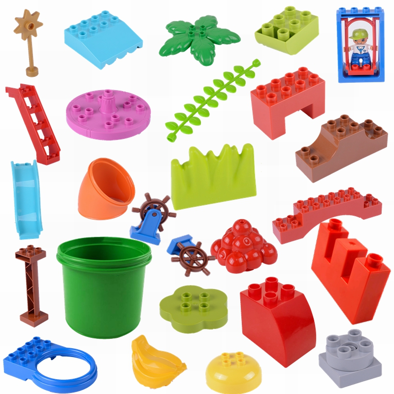 Large Particle Duplo Series Building & Construction Toy Plum Blossom Stairs Slide Duploed Brick Children Educational Toys  Gifts