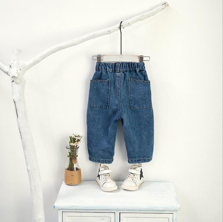 80-120cm height new 2020 spring wash water boys loose denim pant girls denim pants kids spring autumn fashion jeans