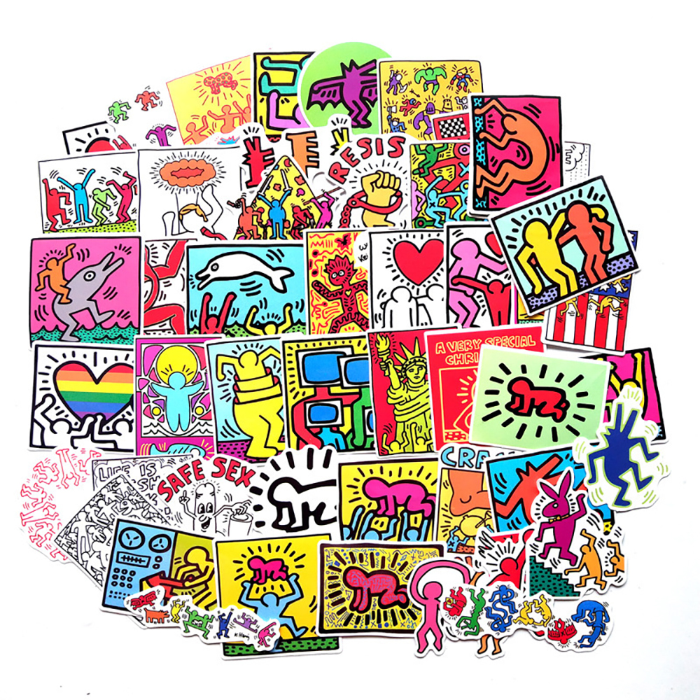 50PCS Street Artist Keith Haring Cartoon Stickers Travel Luggage Guitar Skateboard Waterproof Sticker Classic Toy for Kid Gift