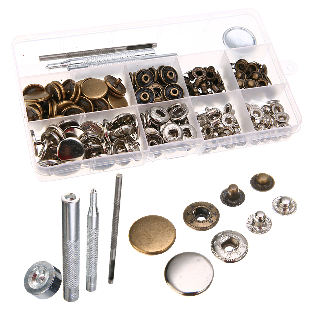 17mm Heavy Duty Snap Fasteners Press Stud Sewing Metal Snap Buttons Press Studs with 4 Pieces Fixing Tools For Leather Craft