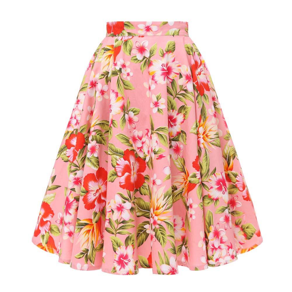 Medium Large Blue and Pink Vintage Floral Maxi Midi Skirt 5CC