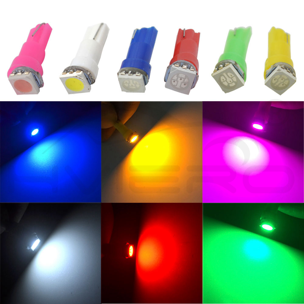 Hviero 10X T5 5050 1SMD Auto Side Wedge Ceramic Dashboard Led White Red Blue Green Car Auto Light Interior Licence plate Bulb DC 12V