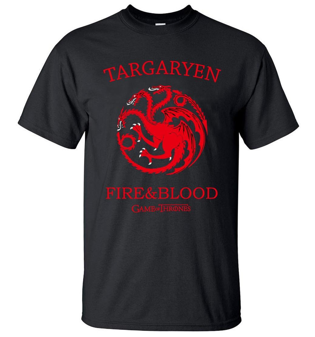 Targaryen Fire & Blood Game of Thrones Men T Shirts 2019 Summer T-Shirt 100% Cotton High Quality Top Tees S-3XL Camisetas Hombre