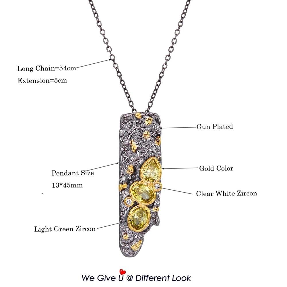 WP6672 DreamCarnival1989 New Stone Age Collections Gothic Pendant Necklace for Women Black Gold Color Vintage Unique Olivine CZ (8)